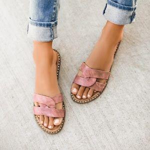 Shoes - NEW! Mauve Vegan Leather Studded Trim Slides